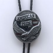 New Vintage Western Fly Eagle Flag Oval Bolo Tie Wedding Leather Necklace