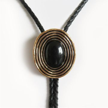 New Vintage Antique Gold Plated Nature Black Obsidian Stone Bolo Tie Leather Necklace