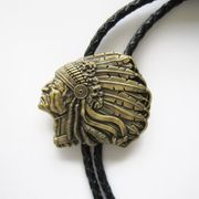 Vintage Bronze Plated Western Chief Bolo Tie Wedding Leather Necklace