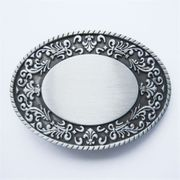 New Vintage Cowboy Rodeo Rope Flower Oval Blank Belt Buckle Fitting for Drawing Printing Laser Engraving