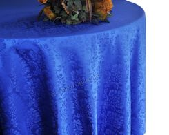 "108"" Marquis Jacquard Damask Polyester Tablecloth - Royal Blue 98522 (1pc/pk)"