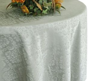 """108"""" Marquis Jacquard Damask Polyester Tablecloth - Silver 98540 (1pc/pk)"""