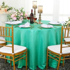 "108"" Round Paillette Poly Flax / Burlap Tablecloths (10 Colors)"