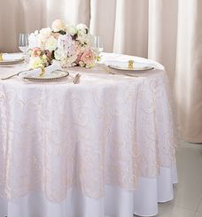 """108""""  Round Embroidered Organza Table Overlay - Blush Pink 95815(1pc/pk)"""