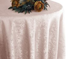 "108"" Round Jacquard Damask Polyester Tablecloth - Blush Pink 96515 (1pc/pk)"