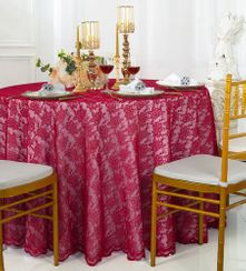 "108"" Round Lace Table Overlays - Apple Red 90808(1pc/pk)"