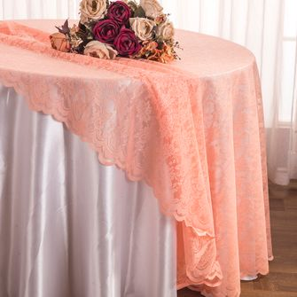 """108"""" Round Lace Table Overlays - Apricot/Peach 90831(1pc/pk)"""