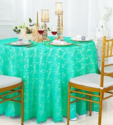 "108"" Round Lace Table Overlays - Tiff Blue / Aqua Blue 90818(1pc/pk)"