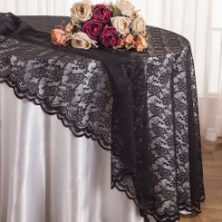 "108"" Round Lace Table Overlays - Black 90839(1pc/pk)"