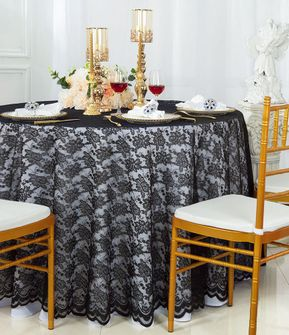 """108"""" Round Lace Table Overlays - Black 90839(1pc/pk)"""