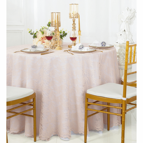 Blush Pink Round Lace Table Overlays, Round Lace Table Toppers