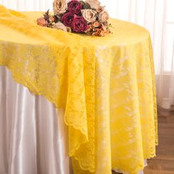 "108"" Round Lace Table Overlays - Canary Yellow 90816(1pc/pk)"