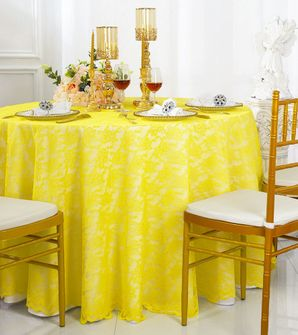 """108"""" Round Lace Table Overlays - Canary Yellow 90816(1pc/pk)"""