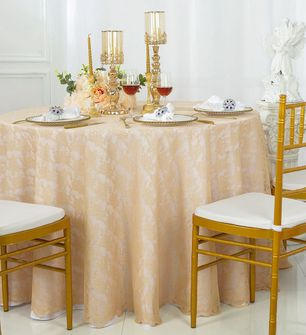 """108"""" Round Lace Table Overlays - Champagne 90828(1pc/pk)"""