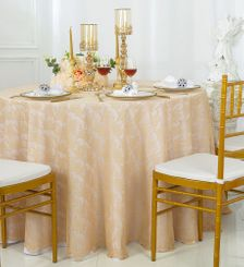 "108"" Round Lace Table Overlays - Champagne 90828(1pc/pk)"