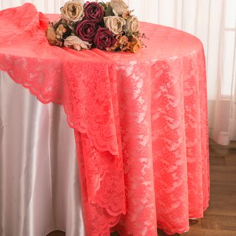 """108"""" Round Lace Table Overlays - Coral 90806(1pc/pk)"""