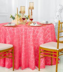"108"" Round Lace Table Overlays - Coral 90806(1pc/pk)"