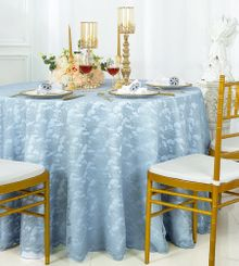 """108"""" Round Lace Table Overlays - Dusty Blue 90803(1pc/pk)"""