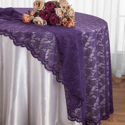 "108"" Round Lace Table Overlays - Eggplant 90845(1pc/pk)"