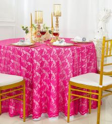 "108"" Round Lace Table Overlays - Fuchsia 90809(1pc/pk)"