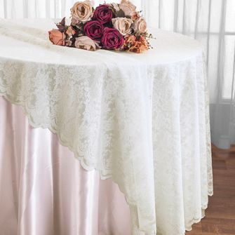 "108"" Round Lace Table Overlays - Ivory 90802(1pc/pk)"