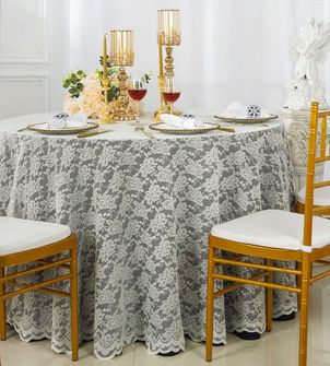 """108"""" Round Lace Table Overlays - Ivory 90802(1pc/pk)"""