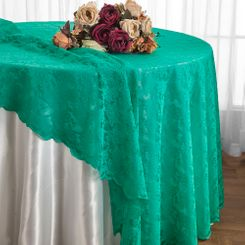 "108"" Round Lace Table Overlays - Jade 90826(1pc/pk)"