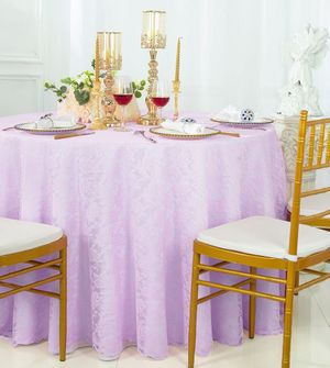 """108"""" Round Lace Table Overlays - Lavender 90811(1pc/pk)"""