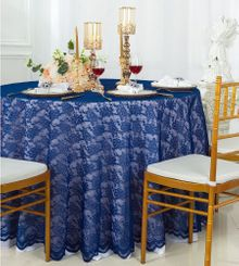 "108"" Round Lace Table Overlays - Navy Blue 90823(1pc/pk)"