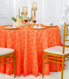 "108"" Round Lace Table Overlays - Orange 90833(1pc/pk)"