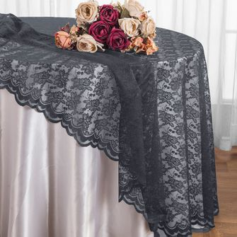 """108"""" Round Lace Table Overlays - Pewter 90860(1pc/pk)"""