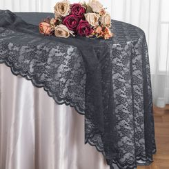 "108"" Round Lace Table Overlays - Pewter 90860(1pc/pk)"