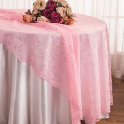 "108"" Round Lace Table Overlays - Pink 90805(1pc/pk)"
