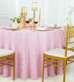 """108"""" Round Lace Table Overlays - Pink 90805(1pc/pk)"""
