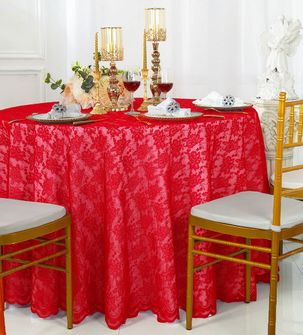 "108"" Round Lace Table Overlays - Red 90812(1pc/pk)"
