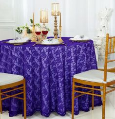 "108"" Round Lace Table Overlays - Regency Purple 90863(1pc/pk)"