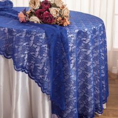 "108"" Round Lace Table Overlays - Royal Blue 90822(1pc/pk)"