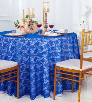 """108"""" Round Lace Table Overlays - Royal Blue 90822(1pc/pk)"""