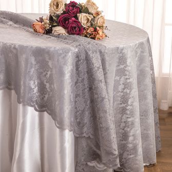 """108"""" Round Lace Table Overlays - Silver 90840(1pc/pk)"""