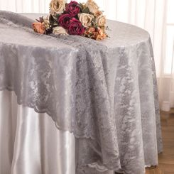 "108"" Round Lace Table Overlays - Silver 90840(1pc/pk)"