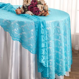 "108"" Round Lace Table Overlays - Turquoise 90885(1pc/pk)"