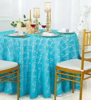 """108"""" Round Lace Table Overlays - Turquoise 90885(1pc/pk)"""