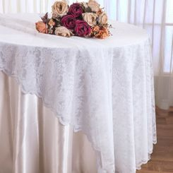 "108"" Round Lace Table Overlays - White 90801(1pc/pk)"
