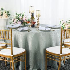 """108"""" Round Marquis Damask Jacquard Polyester Tablecloths (12 colors)"""