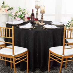 "108"" Round Paillette Poly Flax / Burlap Tablecloth - Black 10739 (1pc/pk)"