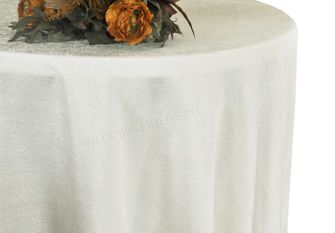 "108"" Round Paillette Poly Flax / Burlap Tablecloth - Ivory 10702 (1pc/pk)"