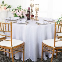 "108"" Round Paillette Poly Flax / Burlap Tablecloth - White 10701 (1pc/pk)"