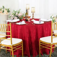 "108"" Round Plaid Jacquard Polyester Tablecloths (6 colors)"