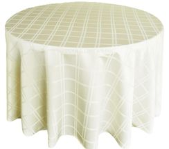 "108"" Round Plaid Polyester Jacquard Tablecloths - Ivory 87502(1pc/pk)"