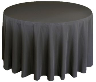 """108"""" Round Polyester Tablecloth - Pewter 52860(1pc/pk)"""